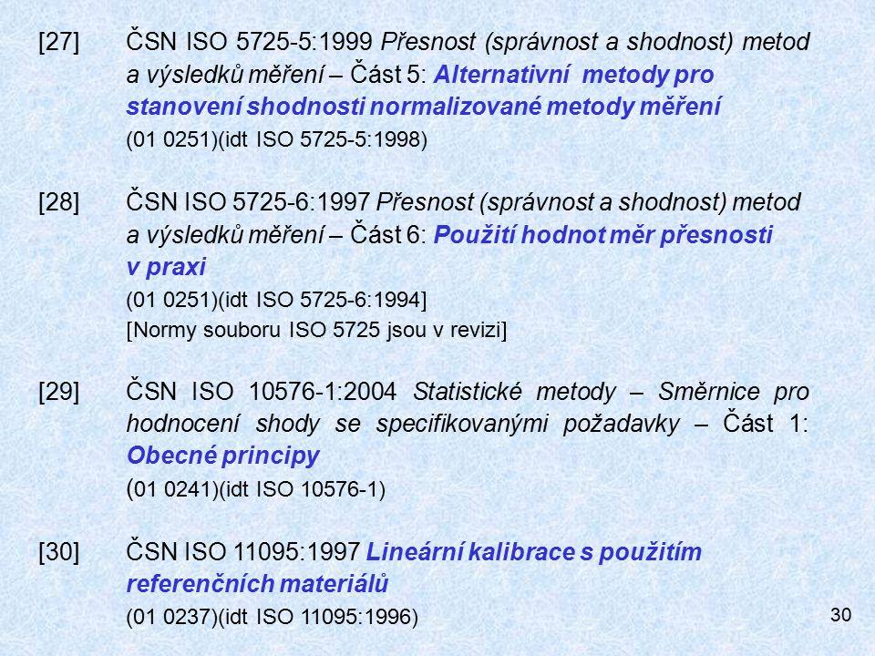 [27]. ČSN ISO 5725-5:1999 Přesnost (správnost a shodnost) metod